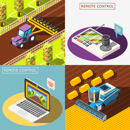 Agricultural robots 2x2 design concept with remote control of plowing and harvesting combines isometric vector illustration Imagens - 97500881