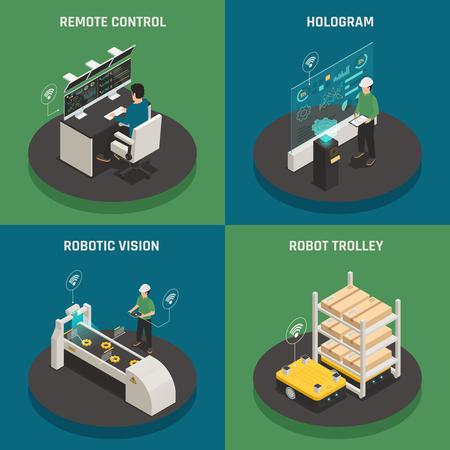 ホログラム、リモコン、ロボットビジョン、ロボットトロリーを備えた4つのアイソメトリックアイコンスクエアコンセプト