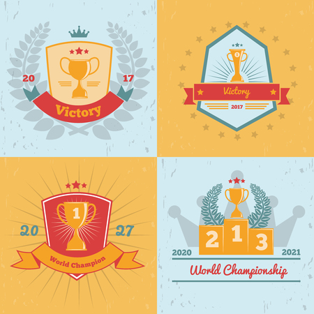 Set of championship gold trophy emblems on colored background