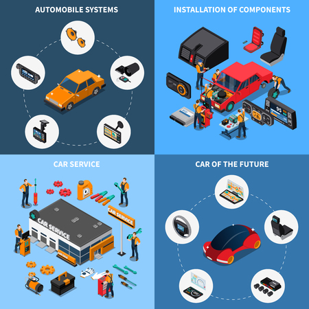 Car electronics concept icons set vector illustration