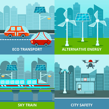 Smart city design concept showing eco transport, sky train, city safety and alternative energy 向量圖像
