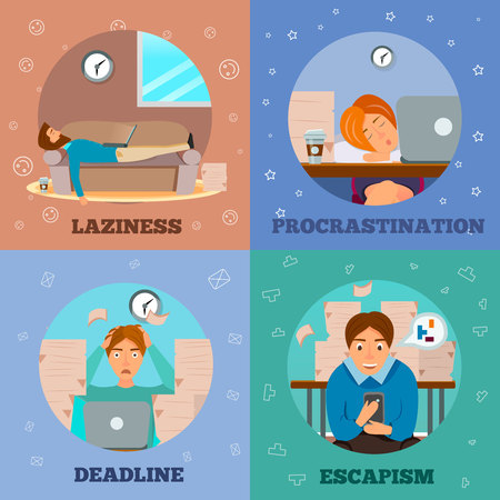 Procrastination laziness escapism delayng and dealing with deadlines characters concept 4 cartoon icons square isolated vector illustration