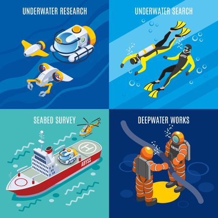 Undersea depths research isometric concept with underwater search, sea bed survey, deep water works isolated vector illustration