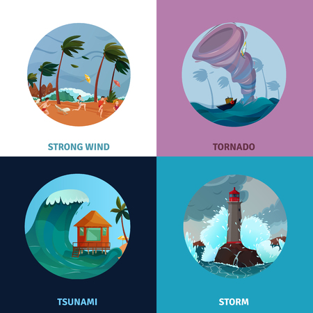 Illustration of strong wind, tsunami, storm and tornado image concepts