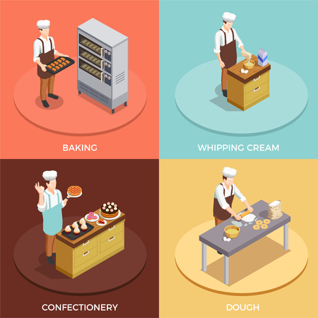Confectionery chef concept isometric icons set with bakery symbols isolated vector illustration Illustration