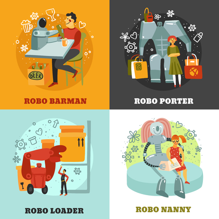 Robots with duties of barman, porter, loader and nanny design concept