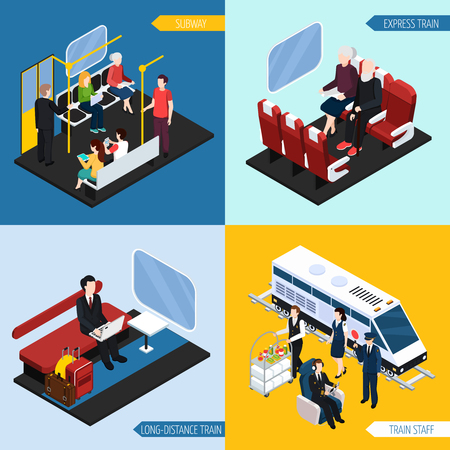Train interior with passengers for long distance travel, express journey, subway, isometric design concept vector illustration Illustration