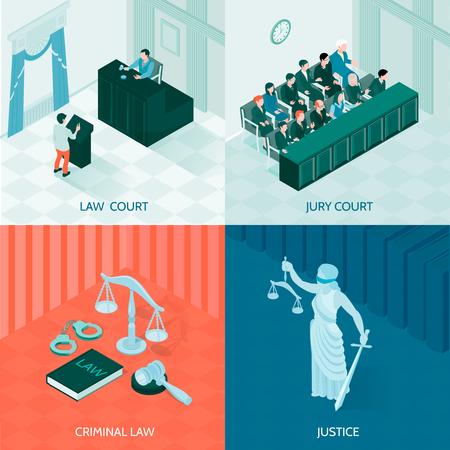 カラフルな背景に関する法と正義と陪審裁判所のアイソメトリックデザインコンセプトのシンボル
