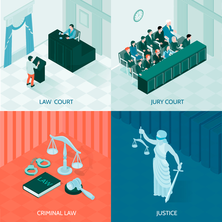 Symbols of law and justice and jury court isometric design concept on colorful background