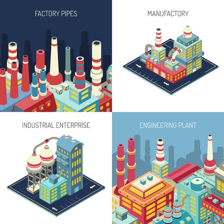 Factory pipes, industrial enterprise, manufacture with modern equipment, engineering plant isometric design concept isolated vector illustration