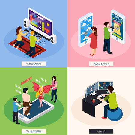 Gamers with electronic equipment isometric design concept with video and mobile gaming, virtual battle isolated vector illustration