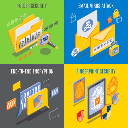 Internet threats design concept with end to end encryption email virus attack fingerprint and folder security square compositions isometric vector illustration