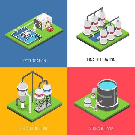Koncepcja projektowania oczyszczania wody zestaw ilustracji wektorowych Ilustracje wektorowe