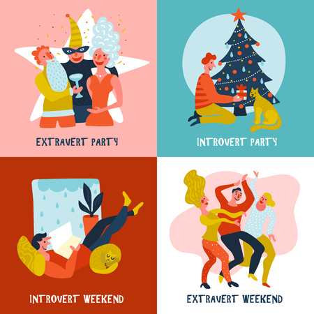 Hand drawn design concept with extrovert and introvert during festive party and weekend isolated vector illustration