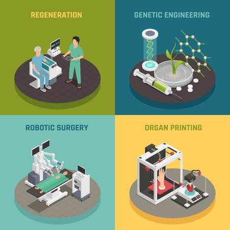 Future medical technologies concept isometric icons square with organs printing regeneration robotic surgery isolated vector illustration Illustration
