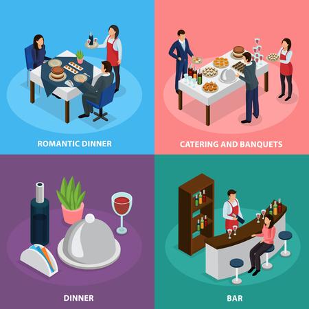 illustration de service de service concept dans quatre icônes carrées isométriques avec le contenu de buffet de spa et le dîner romantique