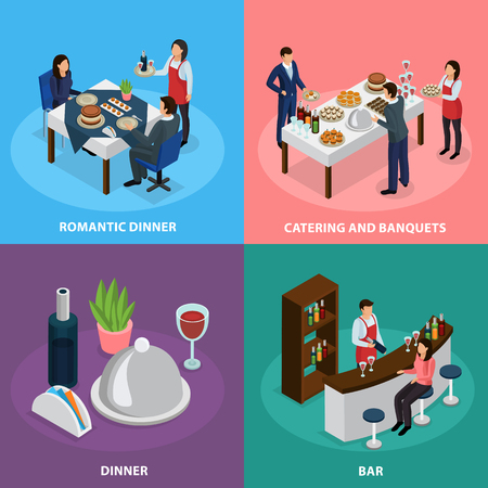 Illustration of catering service concept in four isometric icons square with banquet buffet bar and romantic dinner