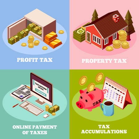 Accounting and taxes isometric design concept with profit tax property tax online payment square icons vector illustration