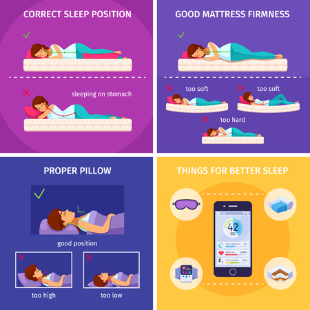 Correct sleeping cartoon 2x2 composition of flat human characters and smartphone icons of things for better sleep vector illustration  イラスト・ベクター素材