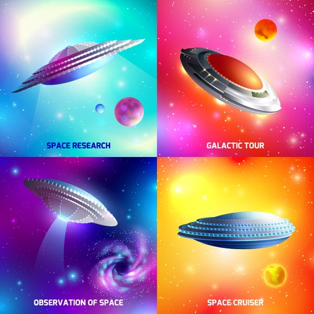 Design concept with alien spaceship during space research, galactic tour, as cosmic cruiser isolated vector illustration