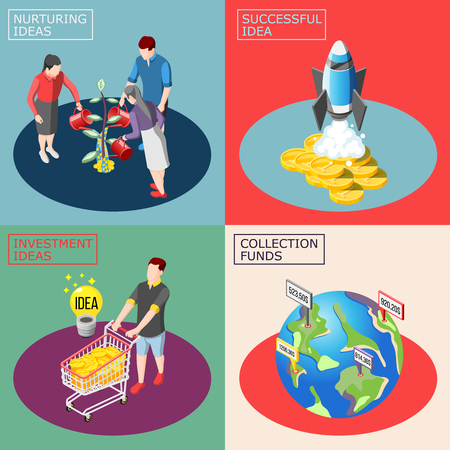 Crowdfunding isometric design concept with nurturing ideas, successful startup, financial investment, global fundraising isolated vector illustration