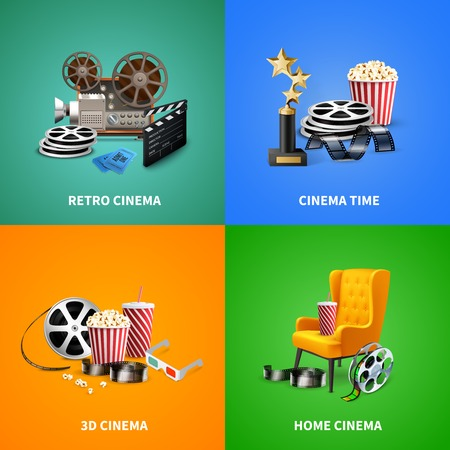 Realistic cinema 2x2 design concept with different objects for watching and making movies isolated on colorful background vector illustration