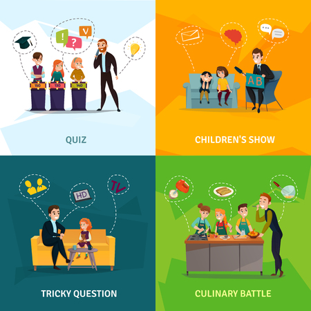 Kids TV show concept icons set with culinary battle symbols flat isolated vector illustration