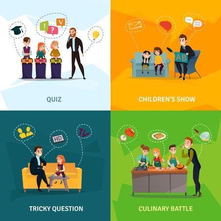 Kinder tv-show concept pictogrammen die met culinaire strijd symbolen platte geïsoleerde vector illustratie