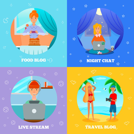 Bloggers characters popular topics flat icons square concept with food cooking travel night chat vector illustration