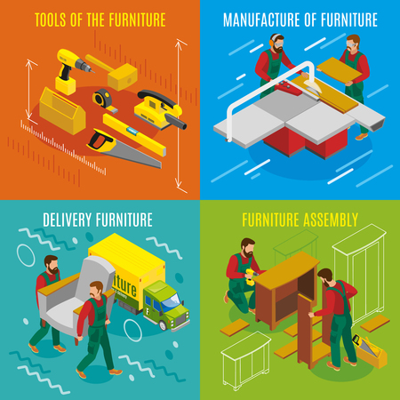 Manufacture, assembly and delivery of furniture, makers with professional tools in an isometric design concept Vettoriali