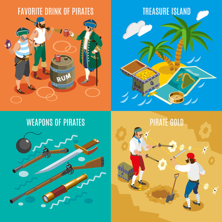 Pirates isometric design concept with favorite drink rum, treasure island, weapons, fight for gold isolated vector illustration