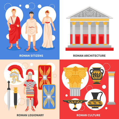Ancient rome flat icons square design concept with citizens legionary culture and architecture isolated vector illustration Illustration