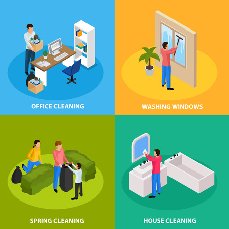 Spring thoroughly cleaning concept isolated vector illustration
