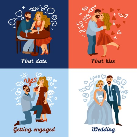 Developing love relations design concept with romantic date, first kiss, engagement and wedding  illustration