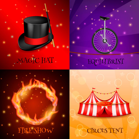 Circus 2x2 realistic 3d design concept with four backgrounds for magic show colourful images and text vector illustration