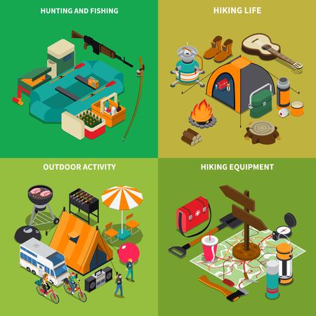 Hiking concept icons set with hiking life symbols isometric isolated vector illustration Illustration