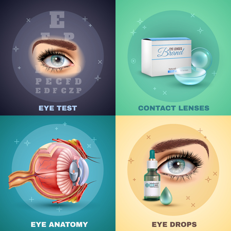 Vision realistic design concept with medical test, eye anatomy, contact lenses and drops, isolated vector illustration