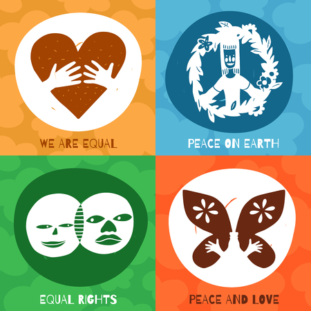 International friendship symbols design concept with equal rights, peace and love on earth isolated vector illustration