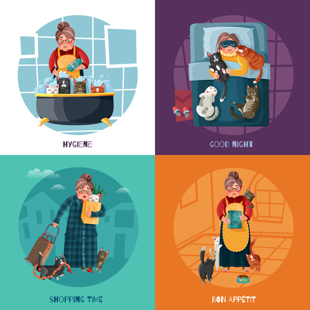 Lady with various cats during pet hygiene, night rest, shopping and feeding design concept isolated vector illustration Illustration