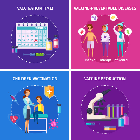 Vaccination immunity cartoon composition design concept with doodle characters of people and medical equipment images vector illustration Illustration