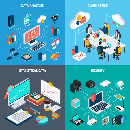 big data concept de conception définie des icônes de stockage de bureau de l & # 39 ; ordinateur de données et de statistiques carré isométrique illustration vectorielle isométrique