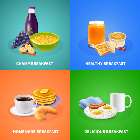 Various types of breakfast design concept on colorful background with food Stock Vector - 97499102