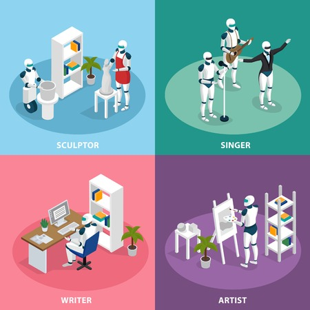 Artificial intelligence 4 isometric icons concept with creative robots sculptor artist writer singer musician isolated vector illustration