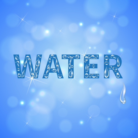 Water drops blue background with sun glare on clean cloudless sky realistic vector illustration