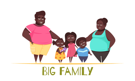 Portrait of big family with dark skin, parents with kids two girls and boy vector illustration