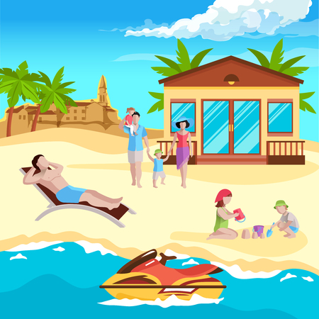 People on beach composition with human characters of different age in sandy beach with remarkable buildings vector illustration Stock Illustratie