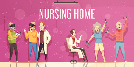 Nursing home flat vector illustration with doctors looking for elderly people engaged in physical exercises and amusement