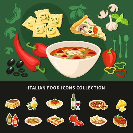 Italian food icons collection of national dishes with ravioli pizza stuffed cannelloni soup olive oil flat vector illustration Illustration