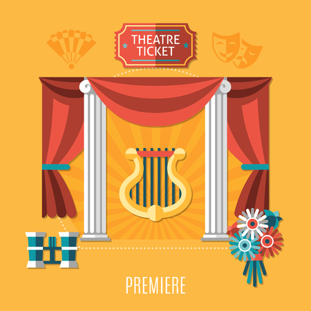 Orange theater composition with theater ticket and premiere descriptions and elements of attractions, Vector illustration.