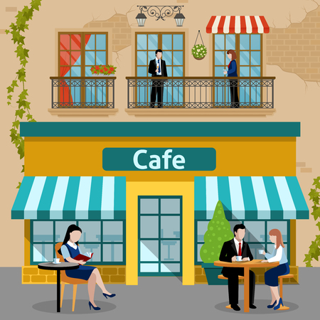 Colored business lunch people flat composition with at lunchtime people sit and eat vector illustration